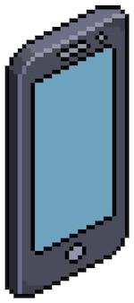 Pixel art smartphone móvil isométrico. elemento de juego de bits