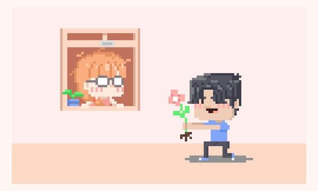 Pixel art tímido personaje de niña nerd recibiendo amor confiesa por parte del niño.