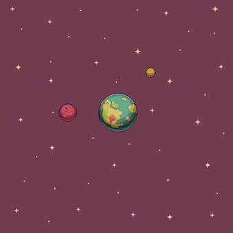 Pixel art wallpaper planeta y estrellas en el espacio de fondo del juego de 8 bits