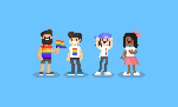 Pixel cartoon lgbt conjunto de caracteres. 8 bits. día del orgullo.