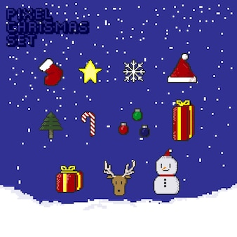 Pixel christmas set