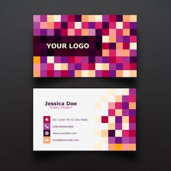 Pixel colorido diseño de tarjeta de visita