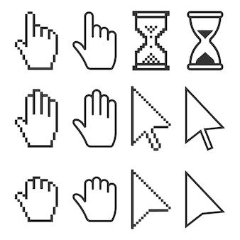 Pixel cursores iconos mouse.
