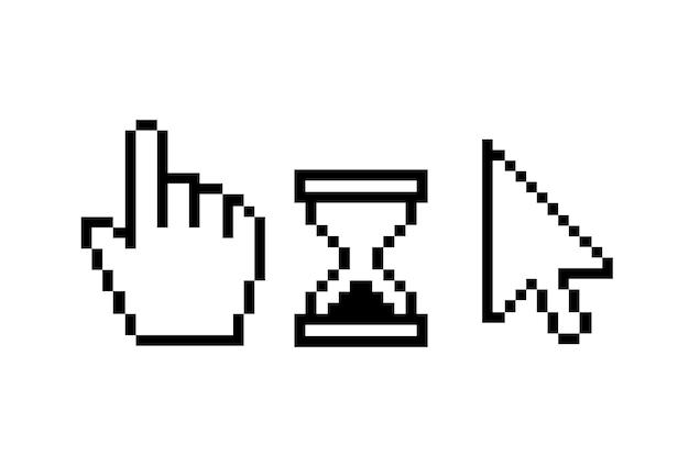 Pixel cursores reloj de arena sobre un fondo blanco vector aislado Vector Premium