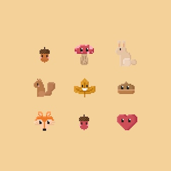 Pixel cute autumn elements.8bit.