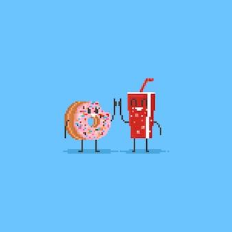 Pixel donut y cola levanta los pulgares