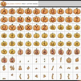 Pixel fantasía letra diseño de calabaza de halloween