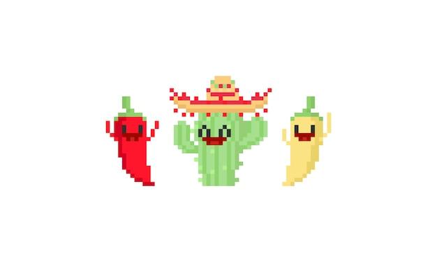 Pixel feliz de cactus y chile de carácter.