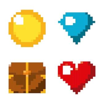Pixel game set icons