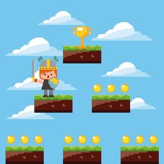 Pixel juego caballero trofeo