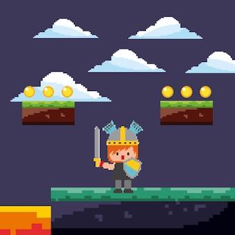 Pixel juego guerrero con monedas de oro