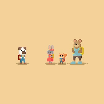 Pixel little animal student.back to school.8bit personaje.