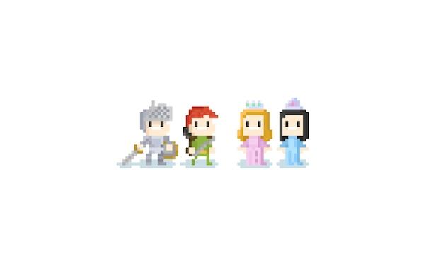 Pixel niños lindos en traje de fantasía