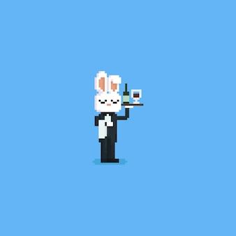 Pixel rabbit mayordomo con vino en la mano izquierda
