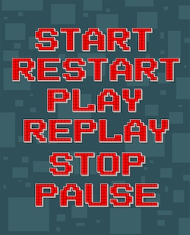 Pixel rojo retro texto diferente para videojuegos