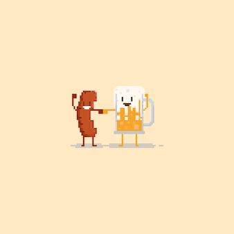 Pixel salchicha y cerveza hacen el brofist
