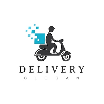 Pixel scooter man, logotipo del servicio de entrega