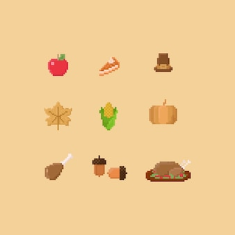 Pixel thanksgiving elements.autumn.8bit.