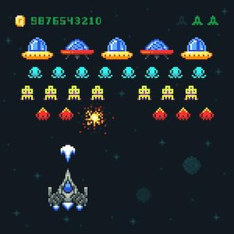 Pixel de videojuego de arcade espacial vintage con naves espaciales disparando balas y extraterrestres