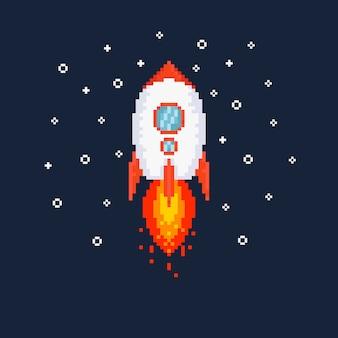 Pixel volando ilustración de cohete.