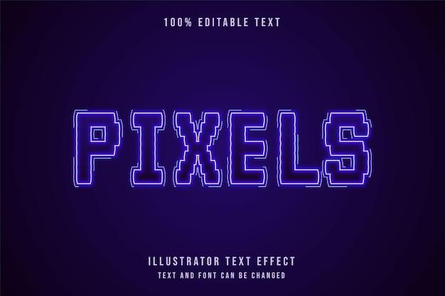 Píxeles, efecto de texto editable estilo de texto de neón de gradación púrpura moderna