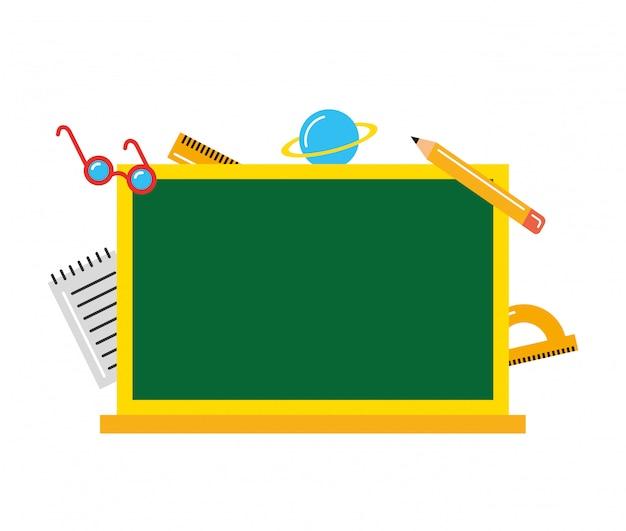 Pizarra en blanco entre útiles escolares. de vuelta a la escuela. ilustración