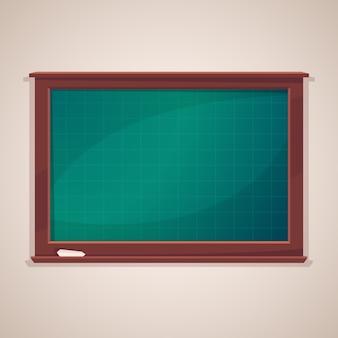 Pizarra de clase en blanco con pieza de tiza
