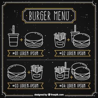 Pizarra con cuatro menús de hamburguesas