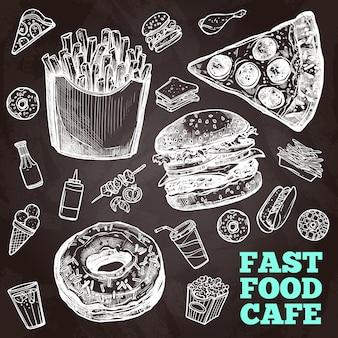 Pizarra de comida rápida