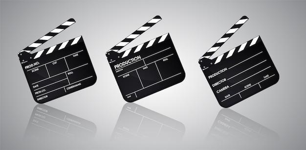 Pizarra del director de la colección cinematográfica. vector de ilustración eps10.
