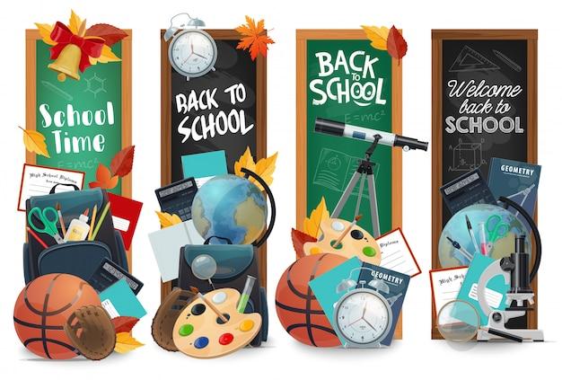 Pizarra de educación con letras de regreso a la escuela