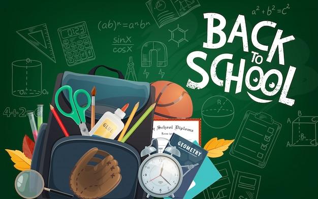 Pizarra educativa letras de regreso a la escuela