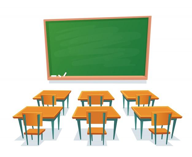 Pizarra escolar y escritorios