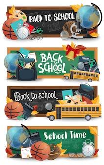 Pizarra escolar, material educativo, pancartas de autobús.