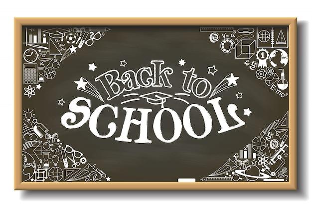 Pizarra escolar con texto de regreso a la escuela y con diferentes elementos educativos
