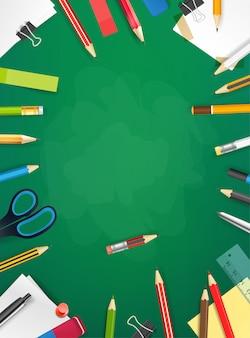 Pizarra de la escuela con diferentes objetos. ilustración vertical