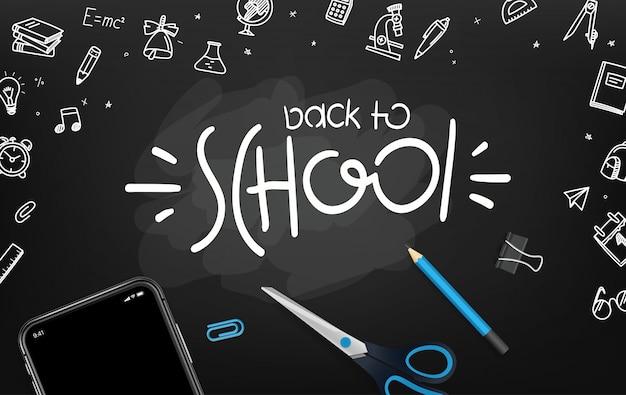 Pizarra de la escuela con diferentes objetos y logotipo de letras. bienvenido de nuevo al colegio