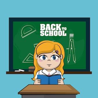 Pizarra frontal de estudiante linda chica a dibujos animados de la escuela