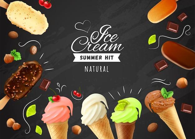 Pizarra de helado con marco de tartas esquimales con variedades blancas oscuras y milc de glaseado de chocolate y conos de waffle realistas