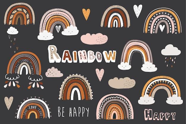 Pizarra linda doodle boho elementos del arco iris