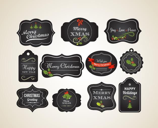 Pizarra navidad conjunto de elementos caligráficos, etiquetas vintage
