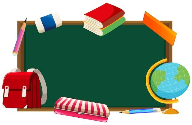 Pizarra y otros objetos escolares.