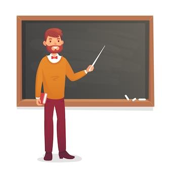 Pizarra y profesor de sexo masculino.