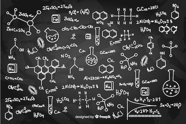 Pizarra química dibujada a mano