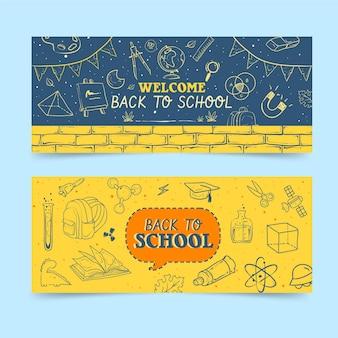 Pizarra de regreso a la escuela pancartas horizontales