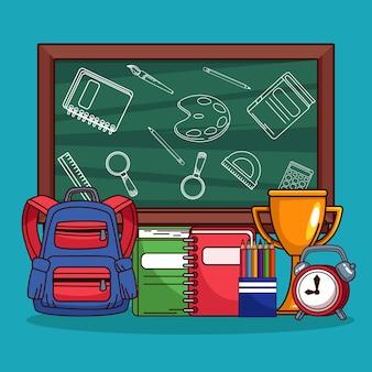 Pizarra de regreso a la escuela y suministros de equipo.