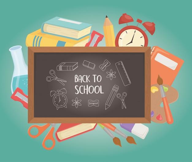 Pizarra y suministros de regreso a la escuela.