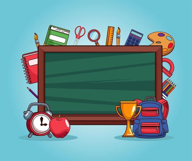 Pizarra y útiles escolares de regreso