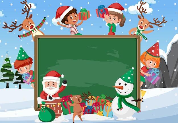 Pizarra vacía con niños en tema navideño