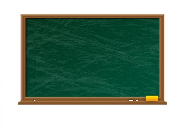 Pizarra verde vacía con marco de madera